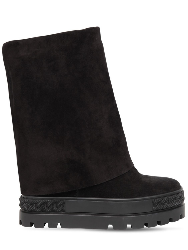 CASADEI 80mm Double Face Suede Ankle Boots in black