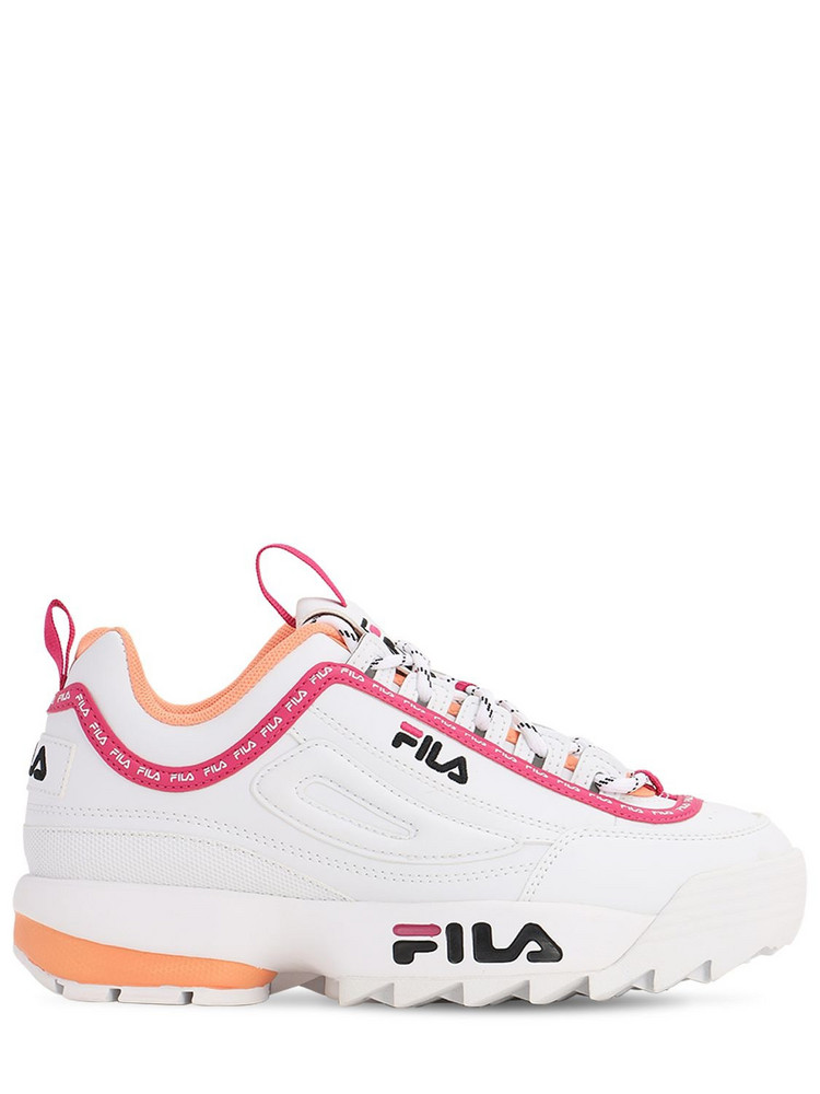 FILA URBAN Disruptor Faux Leather Sneakers in pink / white