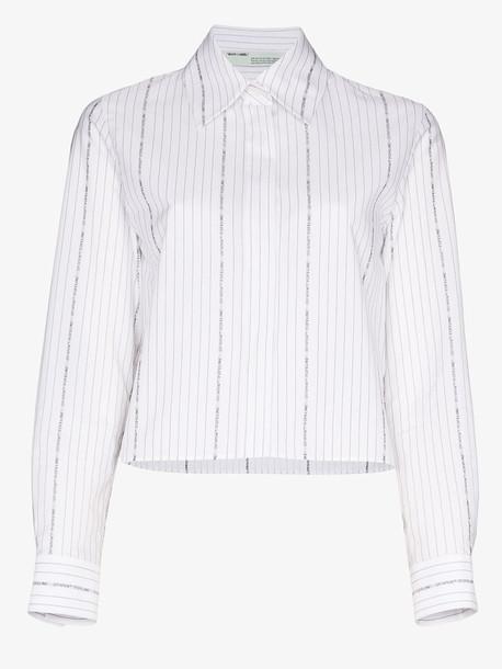 Off-White logo stripe cropped cotton shirt