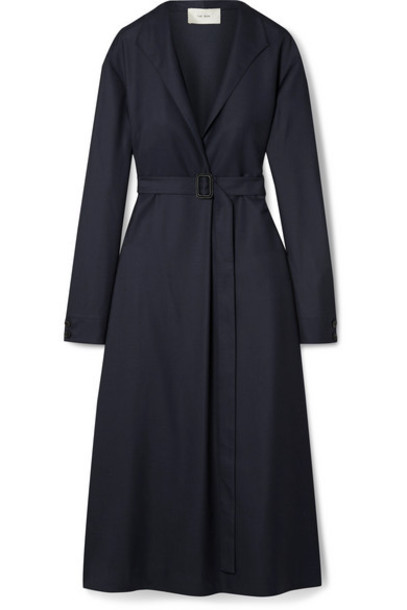 The Row - Tula Belted Wool Midi Dress - Storm blue