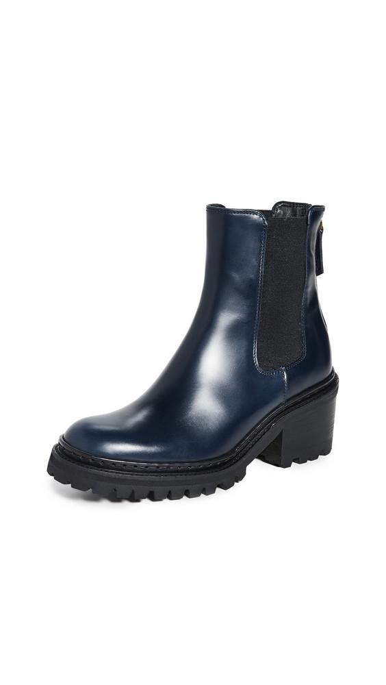 WANT Les Essentiels Valdez Block Heel Chelsea Boots in black / navy