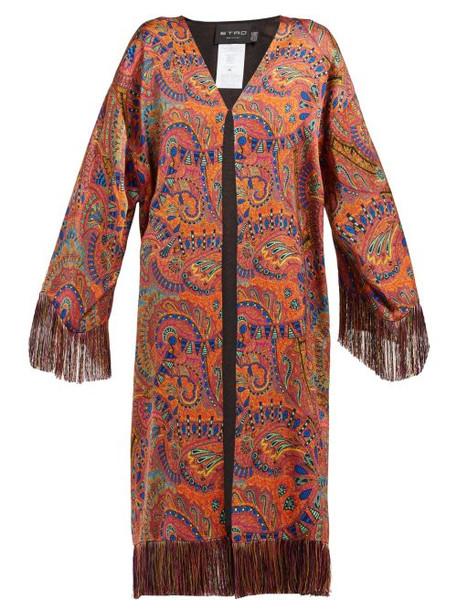 Etro - Fringed Paisley Print Crepe Coat - Womens - Pink Print