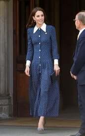 dress,navy,midi dress,polka dots,kate middleton,spring dress,spring outfits,collared dress