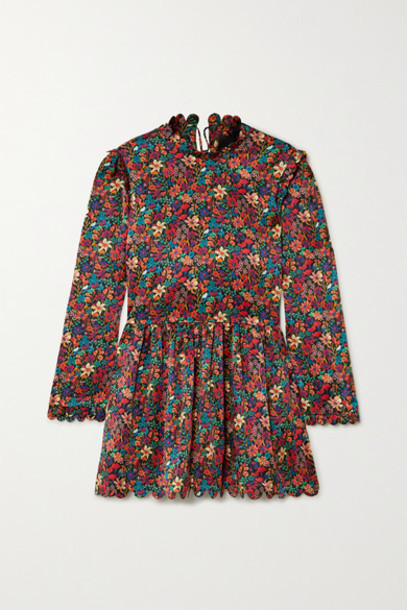 Horror Vacui - Mia Scalloped Floral-print Silk Tunic - Burgundy