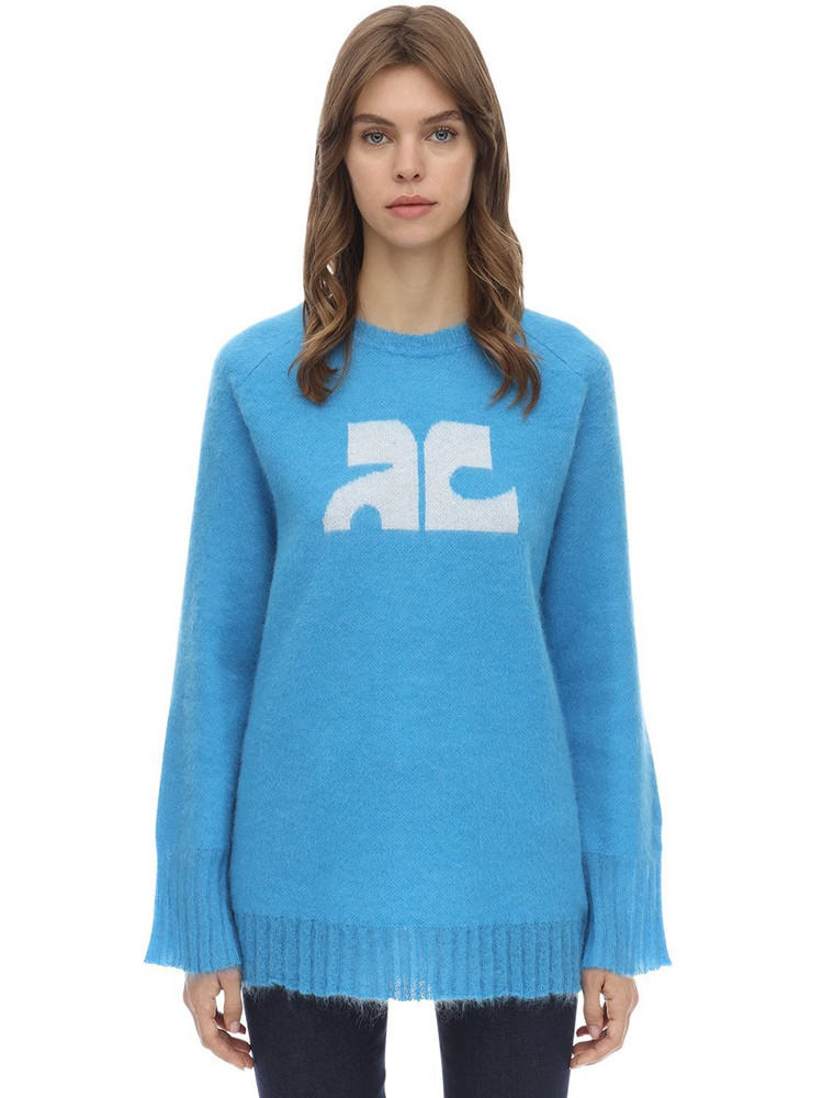 COURREGES Long Sleeved Mohair Blend Sweater in blue