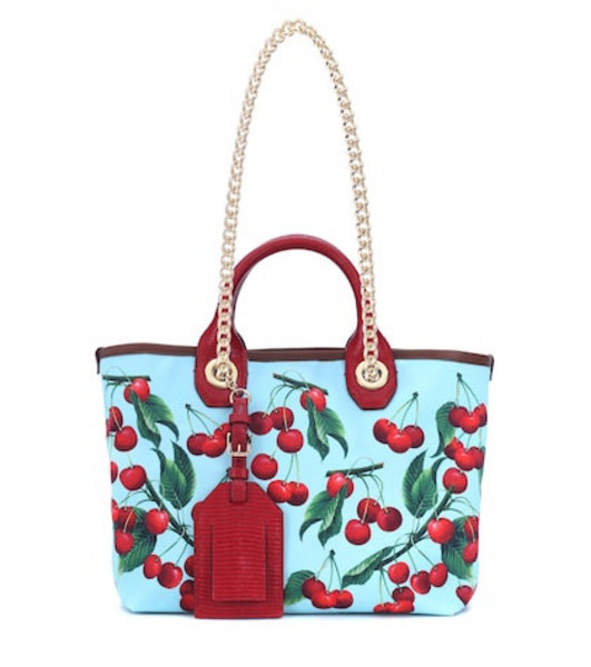 Dolce & Gabbana Exclusive to Mytheresa – Capri cherry printed canvas shopper in blue