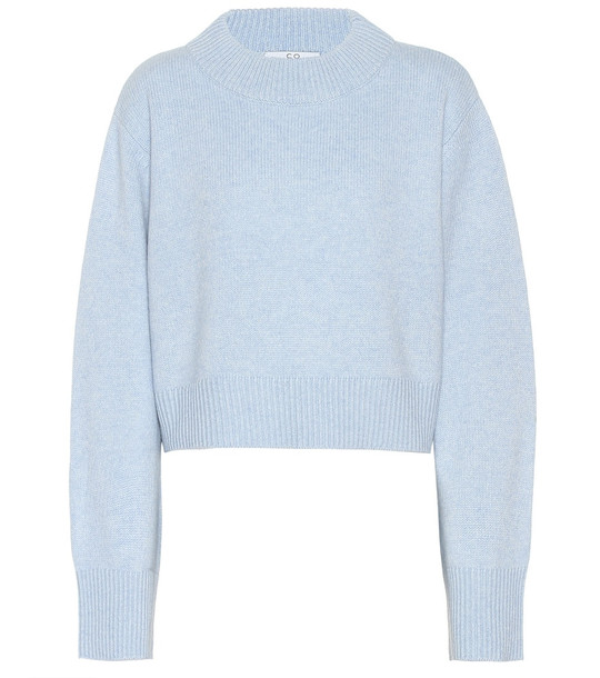 Co Cropped cashmere sweater in blue