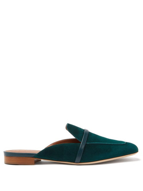 Malone Souliers - Jada Suede Square-toe Backless Loafers - Womens - Green