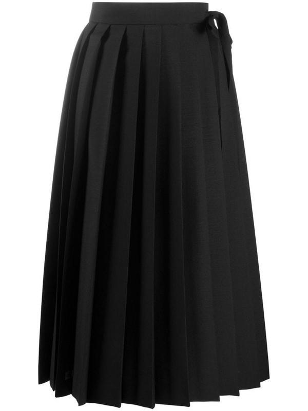 Prada pleated midi skirt in black