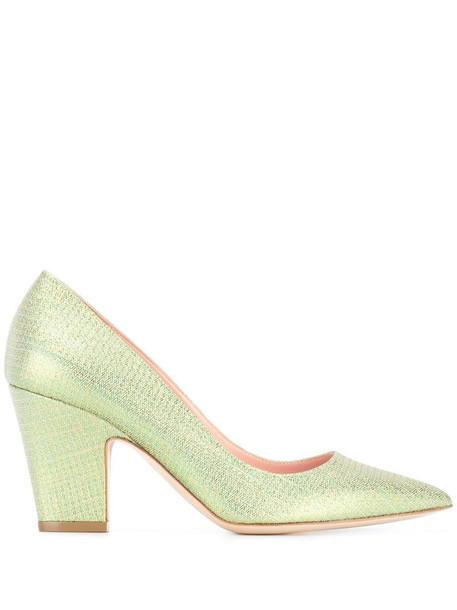 Rupert Sanderson glitter pointed toe pumps in green