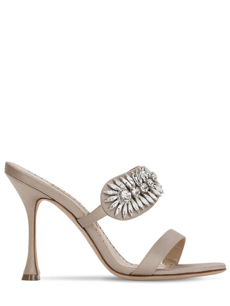MANOLO BLAHNIK 105mm Skysan Swarovski Satin Sandals