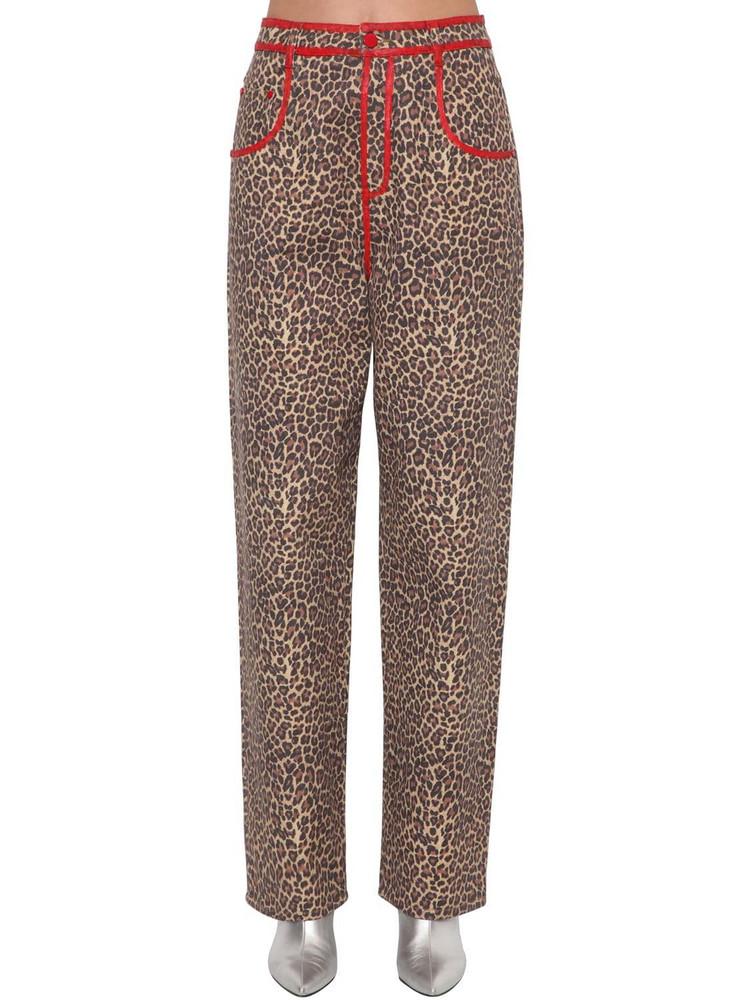 ANNAKIKI Leopard Print Cotton Denim Pant