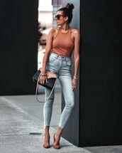 top,bodysuit,tank top,skinny jeans,pumps,bag