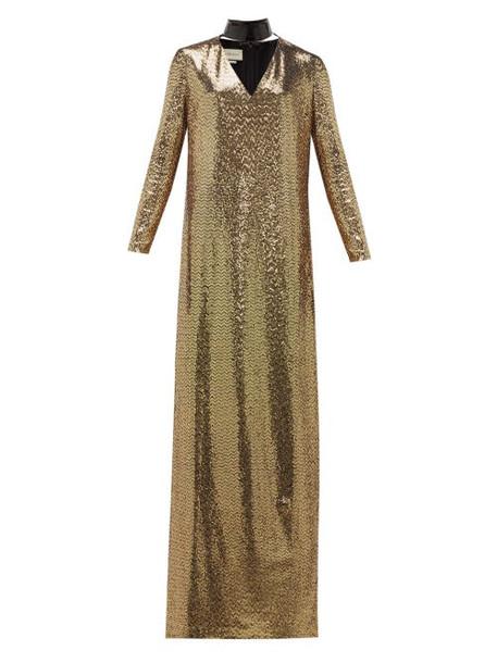 Gucci - Leather-choker Chainmail Maxi Dress - Womens - Gold