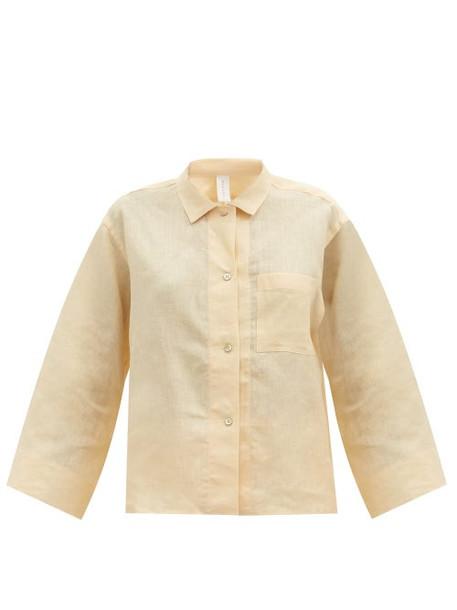 Rossell England - Long Sleeve Linen-poplin Pyjama Shirt - Womens - Light Yellow
