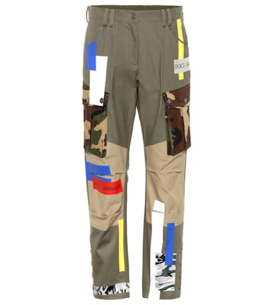 Dolce & Gabbana Patchwork cotton pants in green