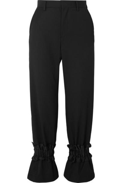Noir Kei Ninomiya - Ruffled Wool-gabardine Straight-leg Pants - Black