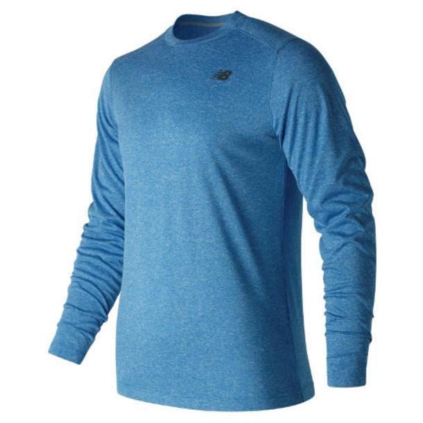 New Balance 53080 Men's Long Sleeve Heather Tech Tee - Blue (MT53080EBH)