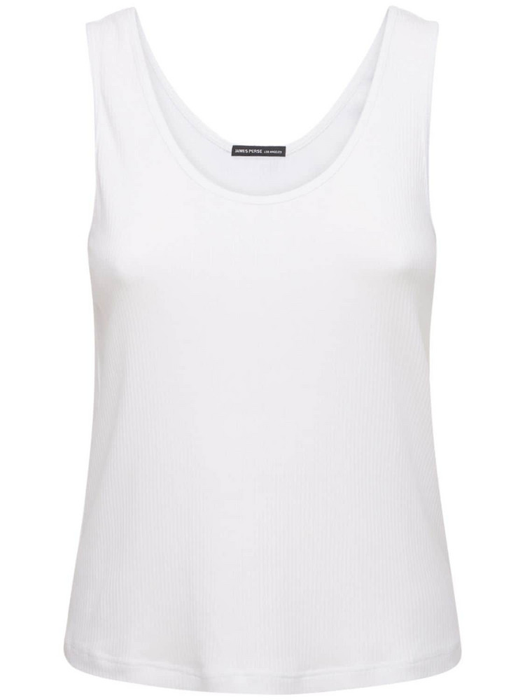 JAMES PERSE Relaxed Cotton Ribbed Tank Top in white