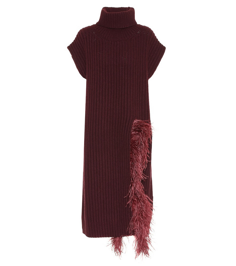 Valentino Feather-trimmed wool-blend midi dress in red