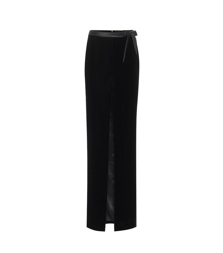 Saint Laurent Velvet and satin maxi skirt in black
