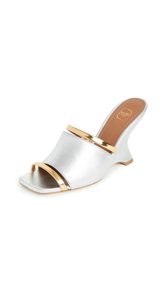 Malone Souliers Demi Wedge Sandals in gold / silver