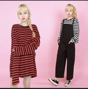 sweater,red and black,black,stripes,striped sweater dress,striped sweater,grunge,grunge sweater,sweater dress,baggy,red and black stripes,baggy dress,red,90s style,long sleeves,edgy,oversized sweater,oversized