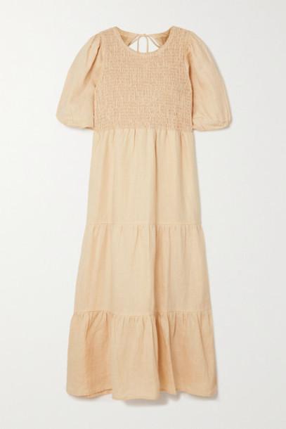 Faithfull The Brand - Net Sustain Alberte Open-back Shirred Linen Midi Dress - Sand