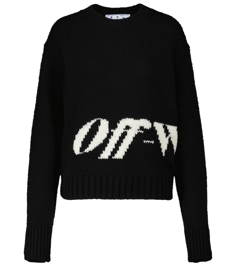 Off-White Intarsia wool-blend sweater in black