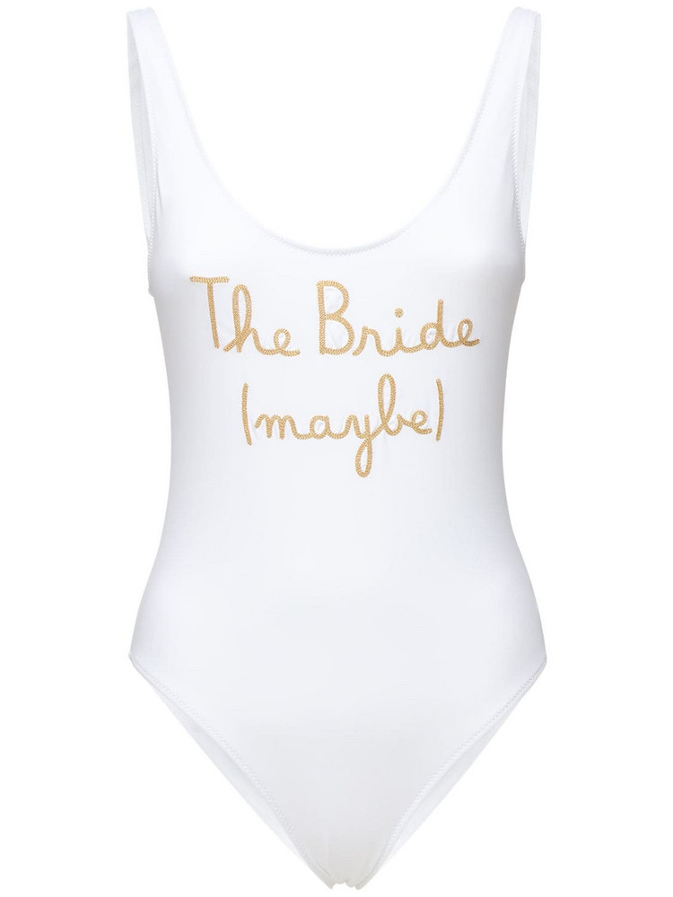 MC2 SAINT BARTH Lora Embroidered One Piece Swimsuit in gold / white