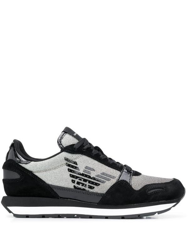Emporio Armani colour-block panelled sneakers in black