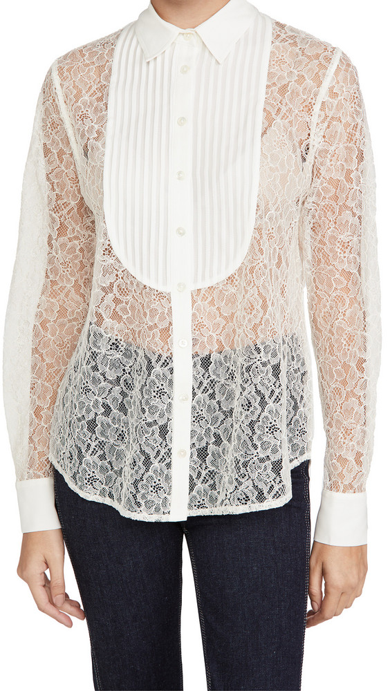 Fleur du Mal Lace Oversized Pintucked Shirt in ivory