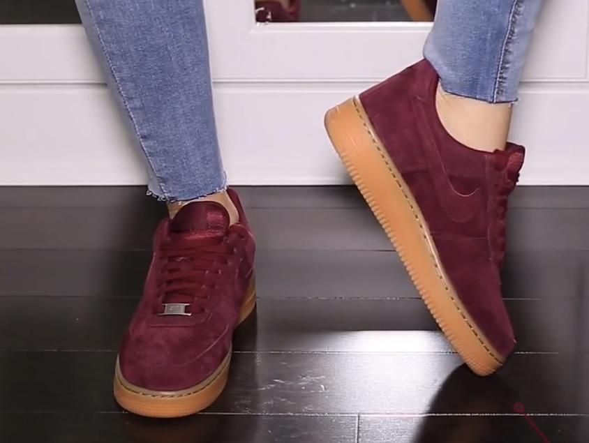 shoes, nike, burgundy, sneakers, women