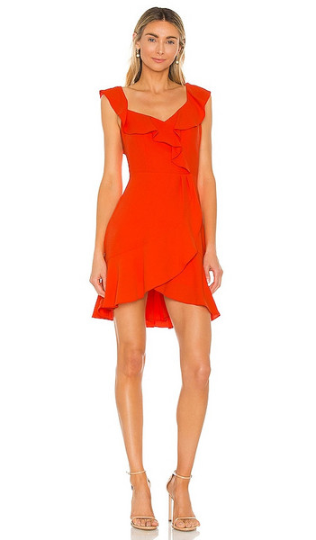 BCBGMAXAZRIA Ruffle Mini Dress in Red in tomato