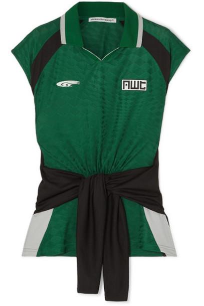 alexanderwang.t - Tie-detailed Jacquard-knit Polo Shirt - Green