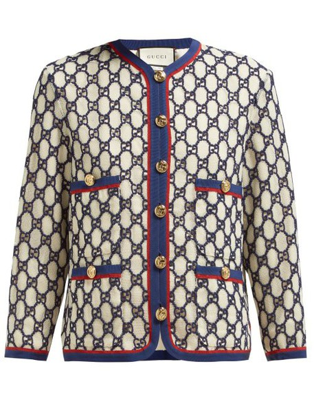 Gucci - Gg Embroidered Cotton Blend Mesh Jacket - Womens - White Multi
