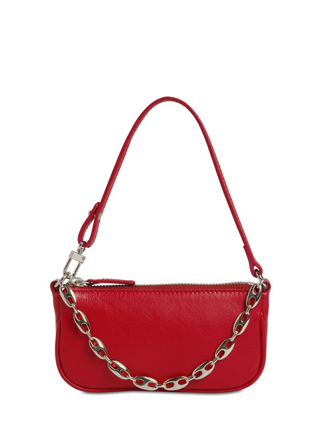 BY FAR Mini Rachel Leather Bag in red