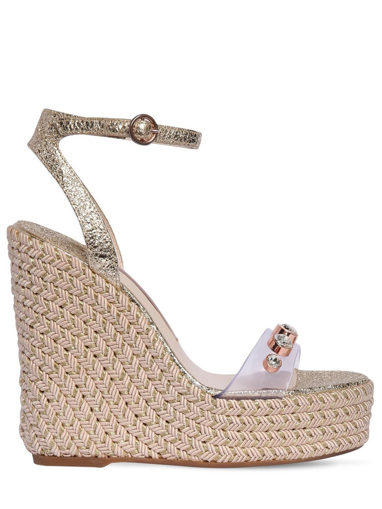 SOPHIA WEBSTER 140mm Dina Plexi & Leather Wedges in gold