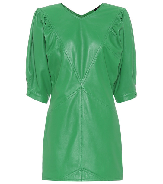 Isabel Marant Xadela leather minidress in green