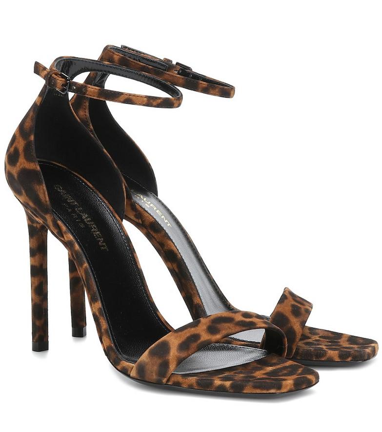 Saint Laurent Amber 105 suede sandals in brown