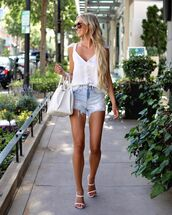 top,white top,tank top,denim shorts,white sandals,white bag