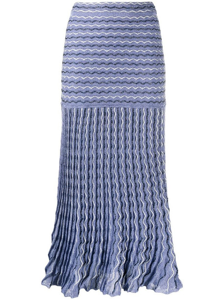 M Missoni high-waisted zigzag skirt in blue