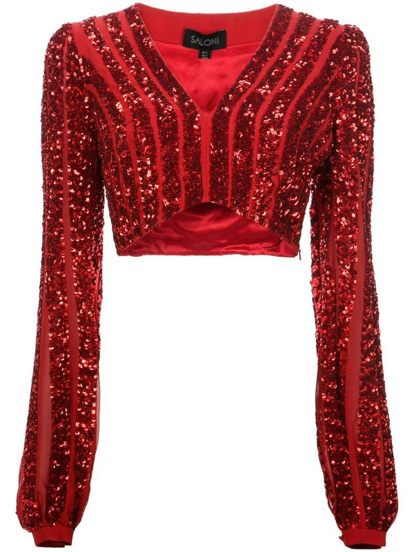 Saloni Camille cropped top in red