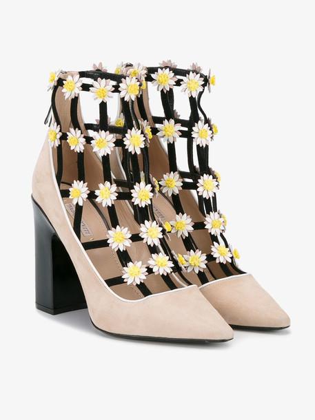 Fabrizio Viti flower embellished booties in neutrals