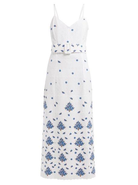 Rebecca De Ravenel - Floral Embroidered Cotton Dress - Womens - White Multi