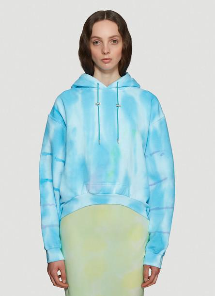 Collina Strada Tie-Dye Hooded Sweatshirt in Turquoise size M