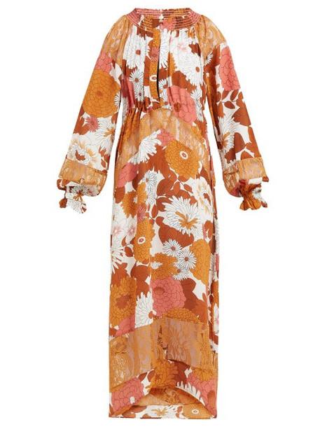 Dodo Bar Or - Renee Floral Print Silk Midi Dress - Womens - Brown Multi