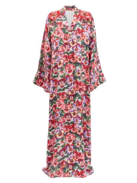 Dolce & Gabbana - Beaded Violet-print Silk-blend Maxi Dress - Womens - Pink Print