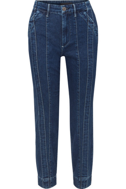 3x1 - Jason Wu Paneled High-rise Slim-leg Jeans - Dark denim