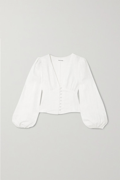 Reformation - Aryn Linen Blouse - White